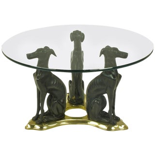 Glass Coffee Table With Trio of Bronze Italian Greyhounds on Brass Trefoil For Sale