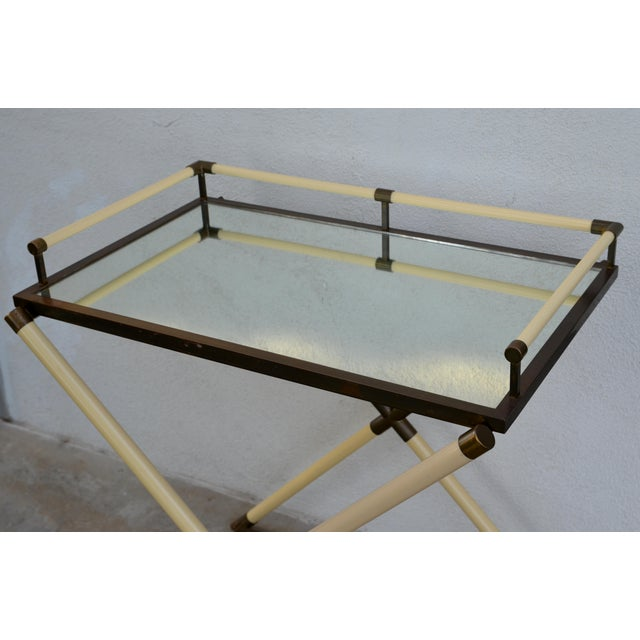 1970s Chic Mirrored and Patinated Brass Bar Cart by Maison Jansen For Sale - Image 5 of 9