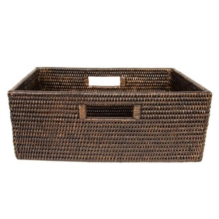 Boho Chic Artifacts Rattan Rectangular Basket For Sale