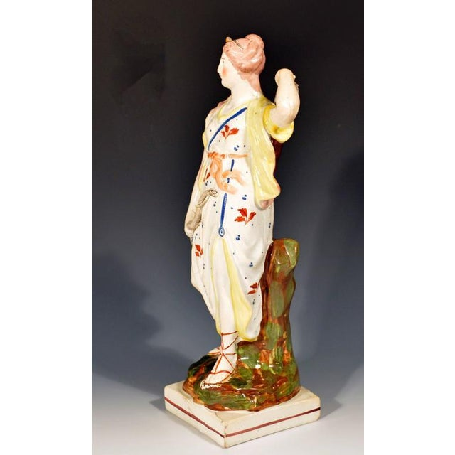 Staffordshire Potteries Staffordshire Pearlware Pottery Figure of Diana, Wood Family, Early 19th-Century For Sale - Image 4 of 4