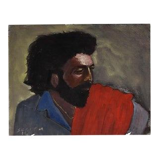 """Clair Seglem Horizontal Portrait Painting of a Man in Red and Blue - 14"""" X 11"""" For Sale"""