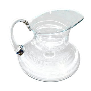 1970's Contemporary Hand Blown Glass Pitcher For Sale