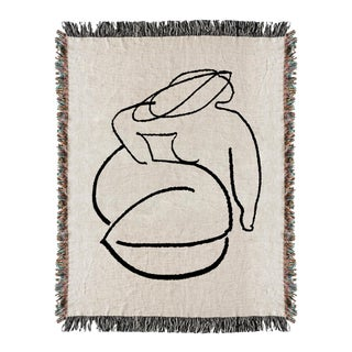 Woven Woman Drawing Throw Blanket For Sale