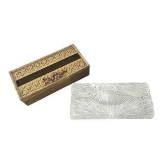 Vintage Lucite and Faux Ormolu Bathroom Vanity Tissue Box Holders - Set of 2