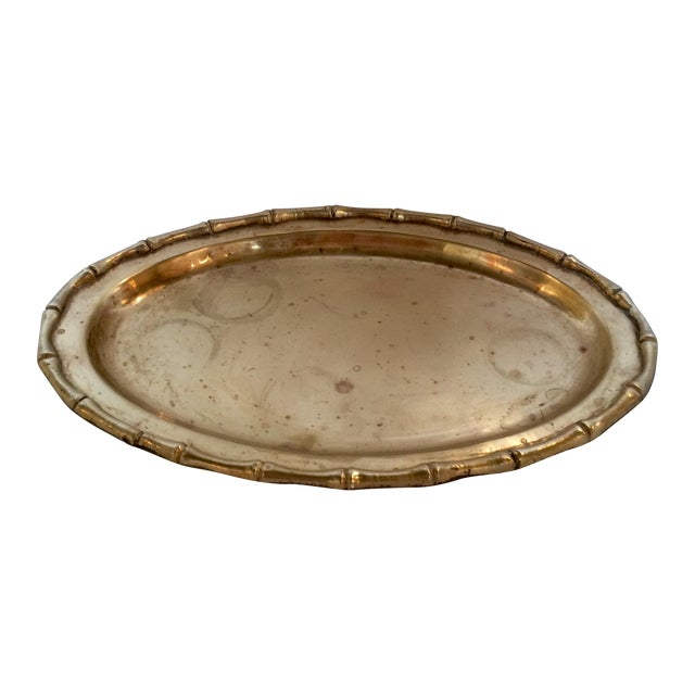 Small Faux Bamboo Trim Brass Tray - Image 1 of 6