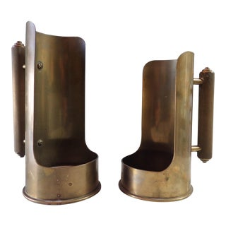 Brass Trench Art Candle Holders - a Pair