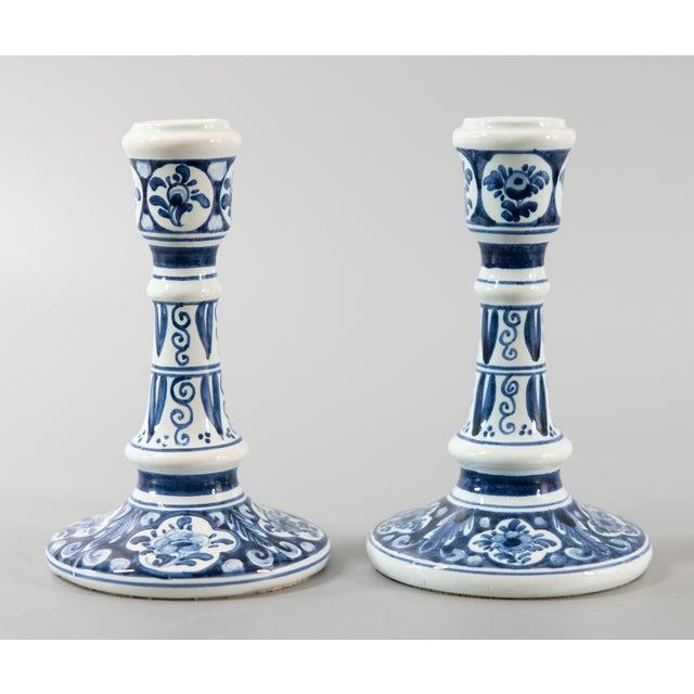 Vintage Dutch Delft Candlesticks - a Pair For Sale - Image 9 of 9