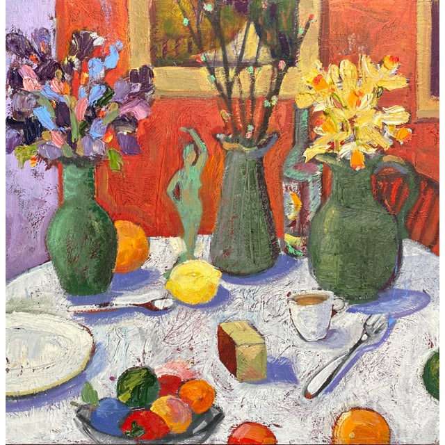 """""""Still Life With Flowers"""" Contemporary Tabletop Still Life Oil Painting by James Hartman For Sale"""