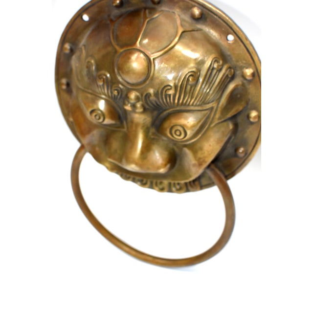 Late 20th Century Small Beast Motif Brass Knockers- a Pair For Sale - Image 9 of 13