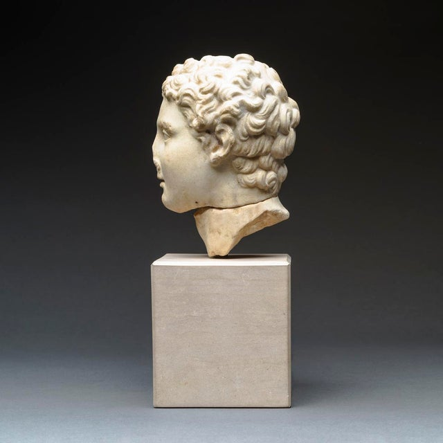 Hellenistic Marble Head of Alexander the Great For Sale In Los Angeles - Image 6 of 8