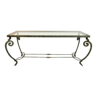 Verdigris Metal and Glass Console For Sale