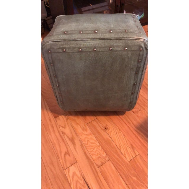 2010s New World Trading Company Lo12 Distressed Turquoise Leather Ottoman/Pouf For Sale - Image 5 of 6