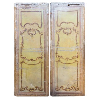1900s Oversized Italian Hand-Painted Stage Prop Scenery Panels- A Pair For Sale