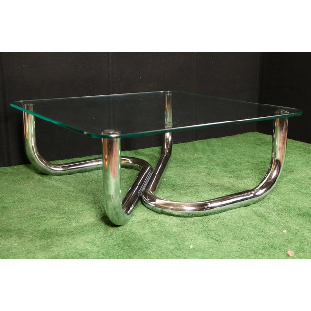 Modern Chrome Tubular Coffee Table - Image 11 of 11
