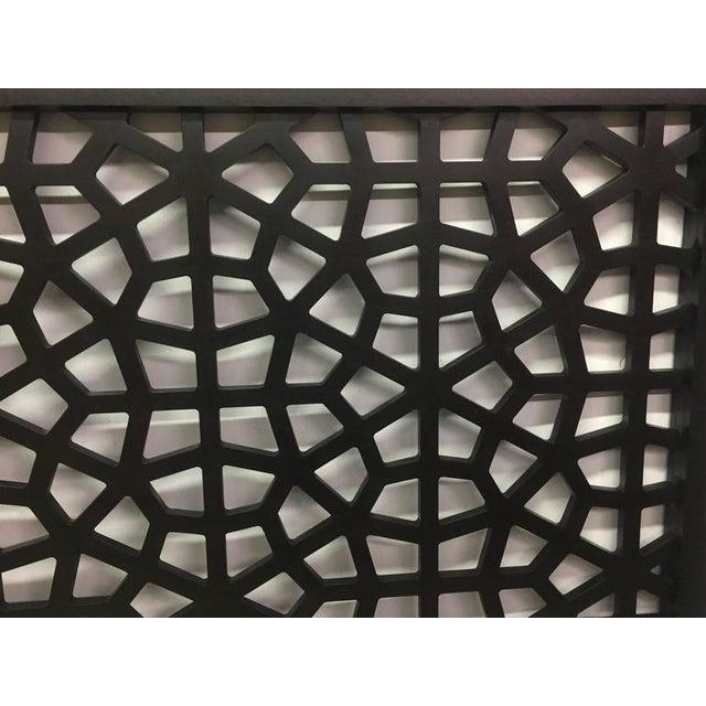 Black Wooden Latticework Headboard For Sale - Image 5 of 5