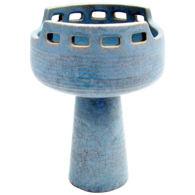 Mid-Century Azure Ikebana Vase For Sale - Image 10 of 10