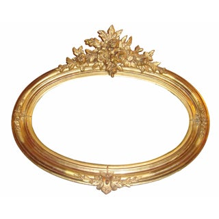 Gilt & Floral Motif Oval Wall Mirror For Sale