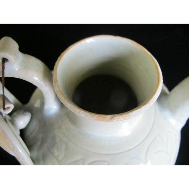 Chinese Celadon Green Glaze Pottery Wine Jug Pot W/Lotus Leaf Floral Design For Sale In Portland, OR - Image 6 of 8