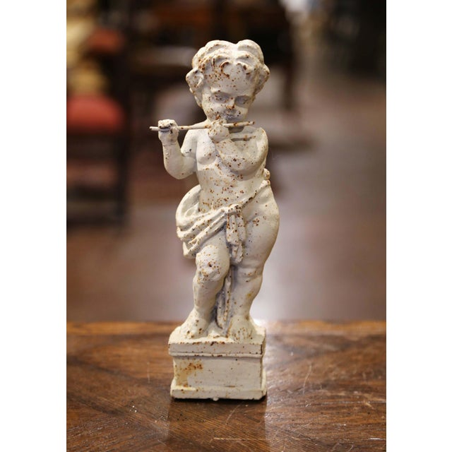 19th Century French Painted Cast Iron Musical Angelic Cherubs, Set of 4 For Sale - Image 9 of 13