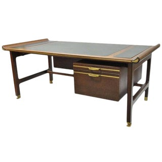 "1950s Mid-Century Modern Ib Kofod Larsen Selig Megiddo ""Queen of Sheba"" African Wenge Wood Executive Desk For Sale"