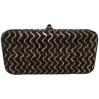 Judith Leiber Black and Silver Swarovski Crystal Minaudiere Evening Bag Clutch For Sale