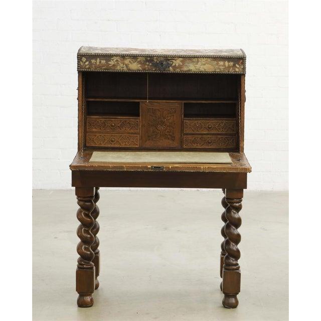 Antique Renaissance Needlework Oak and Walnut Trunk Form Secretary Desk on Stand For Sale - Image 4 of 4