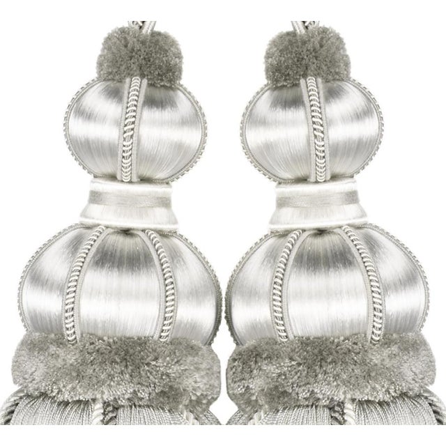 """2010s Platinum Double Tassel Tieback With Cut Ruche- Height 17"""" For Sale - Image 5 of 6"""