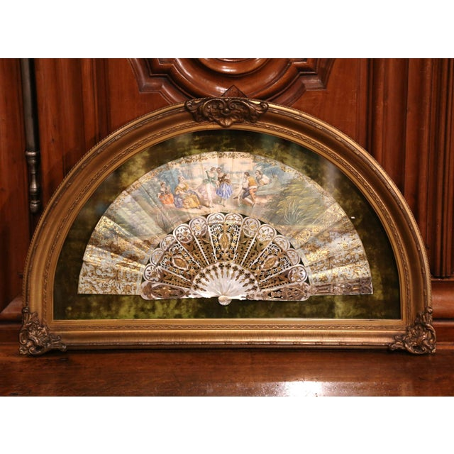 Blue 18th Century French Painted Paper and Mother of Pearl Fan in Gilt Glass Frame For Sale - Image 8 of 8