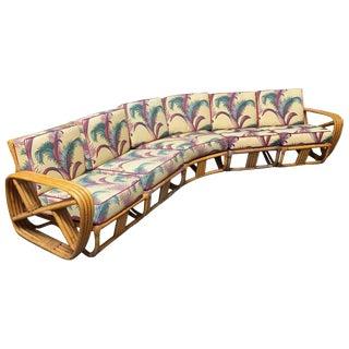 Paul Frankl Four Strand Rattan Six-Seat Corner Sectional Sofa