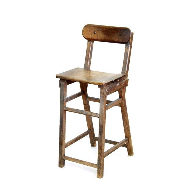 Wood Stool With Hinged Backrest - Image 1 of 4