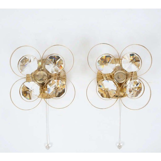 Gold Gilded Brass Crystal Glass Bakalowits Sconces, Austria 1960 For Sale - Image 8 of 9