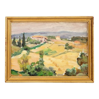 Antique Small French Reversible Landscape Painting