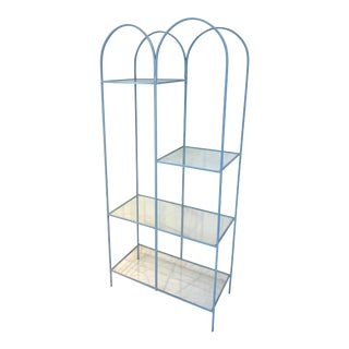 Mid Century Modern Arched Powder Blue Metal and Glass Display Shelf Unit For Sale