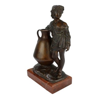 Antique German Orientalist Bronze Sculpture of a Young Boy with Urn by Uhlmann For Sale