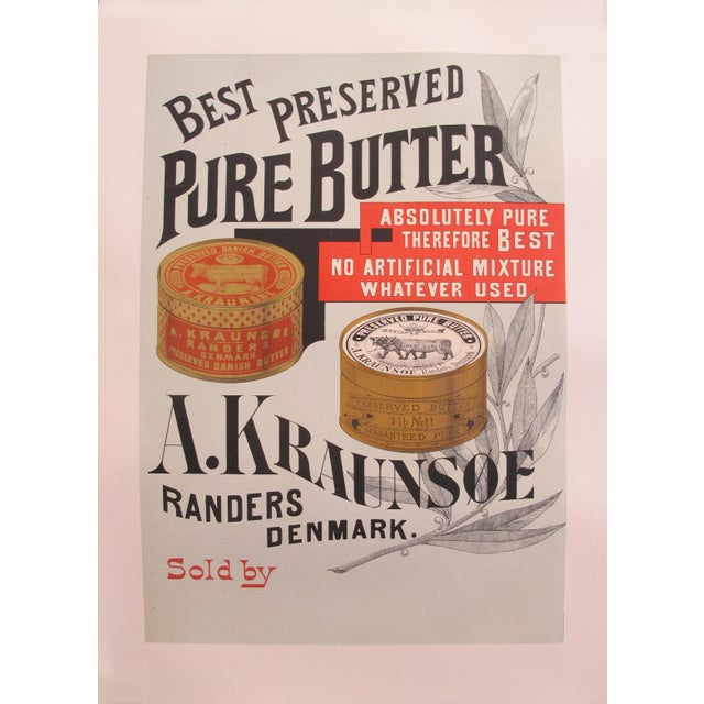 1900 - 1909 1900s Original Danish Advertisement Poster - Best Preserved Pure Butter For Sale - Image 5 of 5