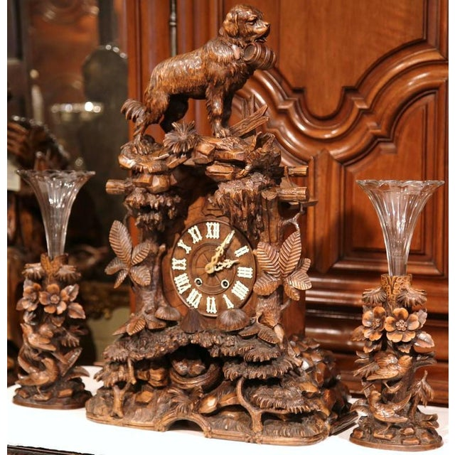 Walnut 19th Century Black Forest Carved Walnut Cuckoo Clock - Set of 3 For Sale - Image 7 of 11