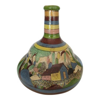 Vintage Tlaquepaque Tonala Mexican Pottery Water Bottle/Cup For Sale