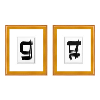 Zen Diptych by Ilana Greenberg in Gold Frame, XS Art Print For Sale