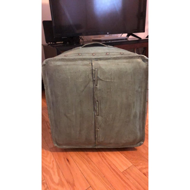 Contemporary New World Trading Company Lo12 Distressed Turquoise Leather Ottoman/Pouf For Sale - Image 3 of 6