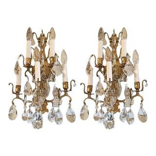 1940s Italian Crystal & Glass Sconces - A Pair For Sale