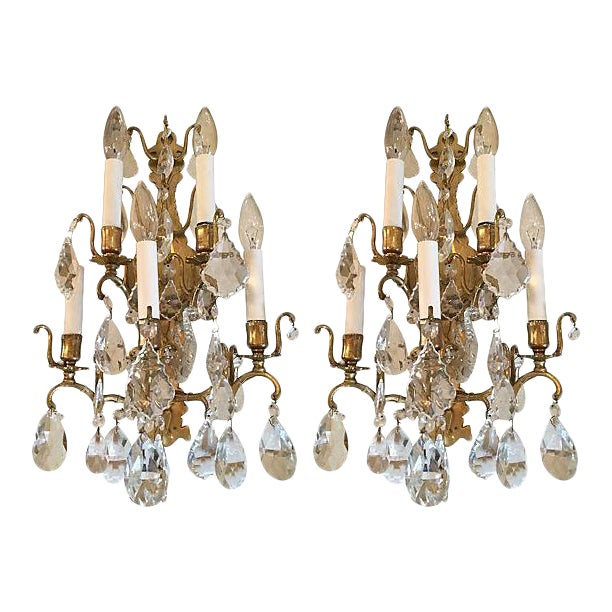 1940s Italian Crystal & Glass Sconces - A Pair - Image 1 of 8