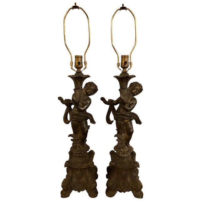 Bronze Patinated Putti Table Lamps - a Pair For Sale - Image 12 of 12