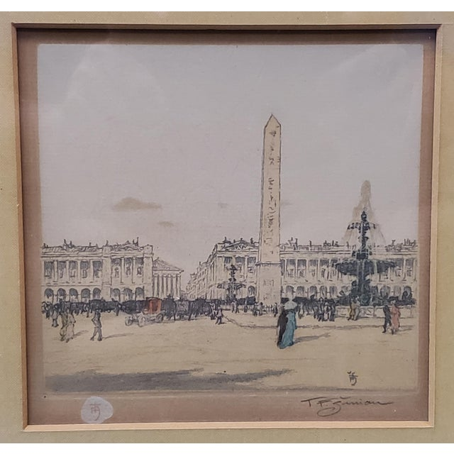 """Up for sale is a Tavik F. Simon - """"Place de la Concorde, Paris"""" Hand Colored Etching (Czech) (Circa 1905)! It measures 11..."""