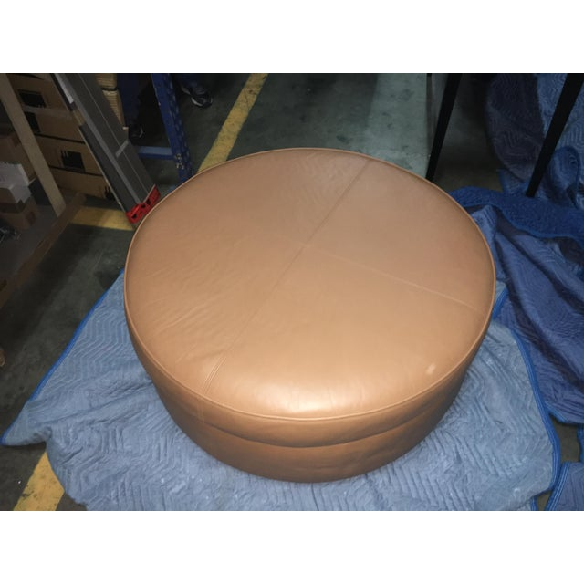 Modern Custom Leather Donghia Ottoman For Sale - Image 3 of 4