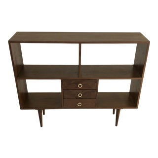 Handcrafted Minimal Walnut Bookcase For Sale