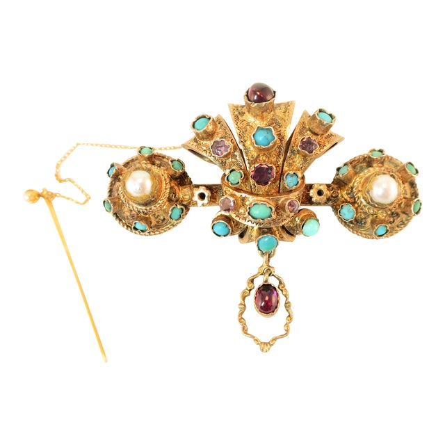 Georgian Baroque Brooch 10k Gold Amethyst Turquoise Pearls Circa 1840 For Sale
