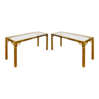 Pair of Mastercraft Vintage Brass Consoles For Sale