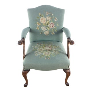 Needlepoint Upholstery Wooden Armchair For Sale