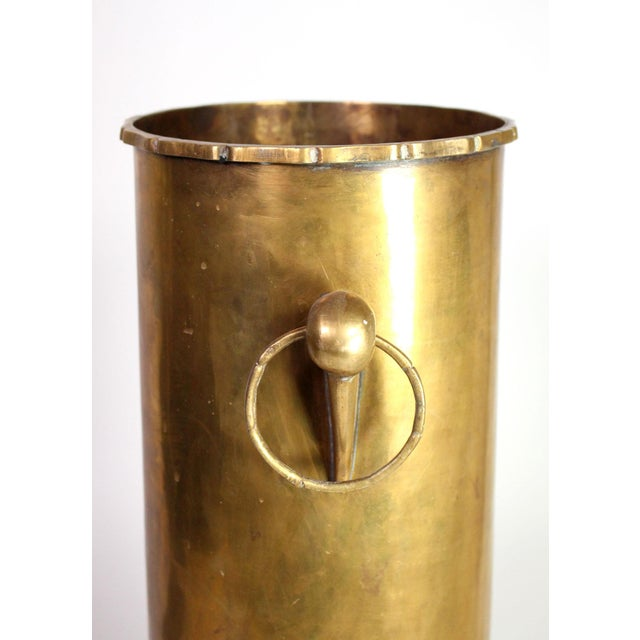 1960s Vintage Solid Brass English Faux Bamboo Umbrella Cane Stand For Sale - Image 5 of 6