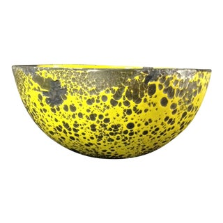 Yellow Distressed 1960s Danish Enameled Bowl For Sale